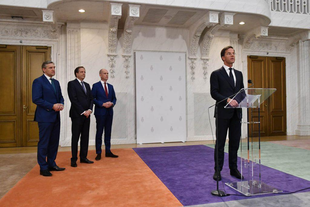 Op dinsdag 10 oktober 2017 hebben de fractievoorzitters van VVD (Mark Rutte), CDA (Sybrand Buma), D66 (Alexander Pechtold) en ChristenUnie (Gert-Jan Segers) in de Oude Zaal een toelichting gegeven op hun regeerakkoord 'Vertrouwen in de toekomst'.