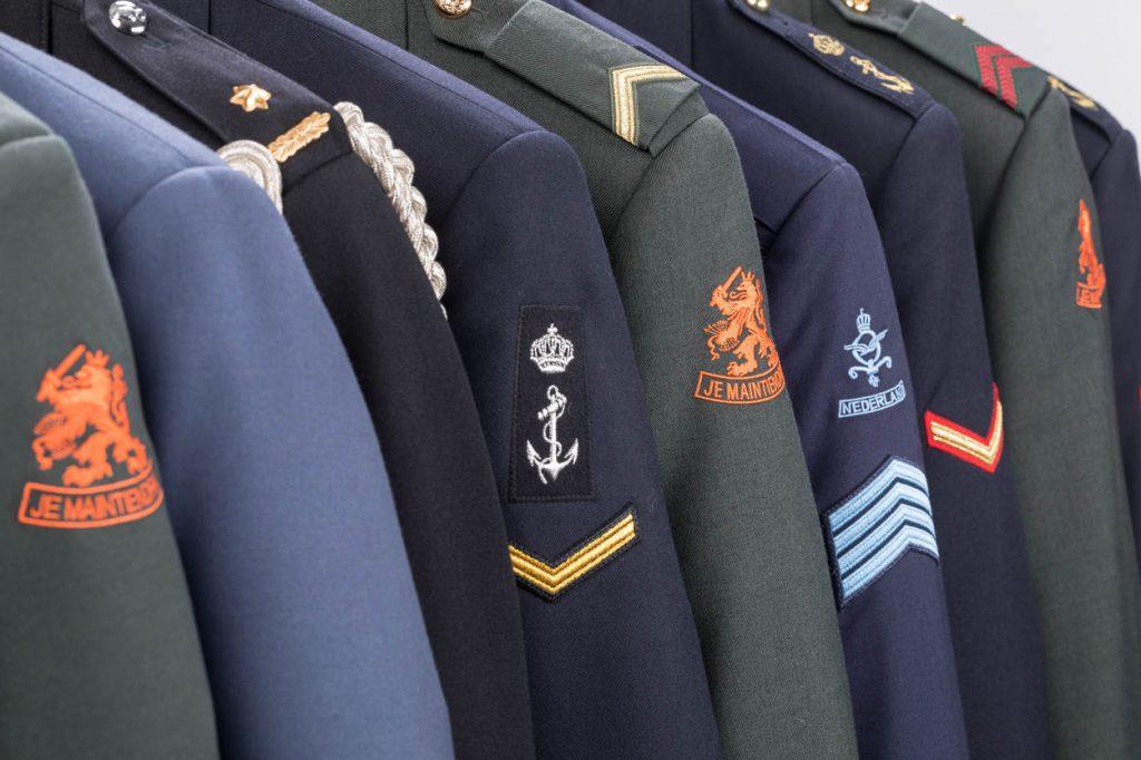 Soesterberg 11 januari 2018  Dagelijks tenue van de diverse krijgsmachtsonderdelen van Defensie. Deze kleding ligt opgeslagen bij het KPU (Kleding en Persoonsgebonden Uitrustingsbedrijf)  Stockfotografie voor (beeld)redactie MCD